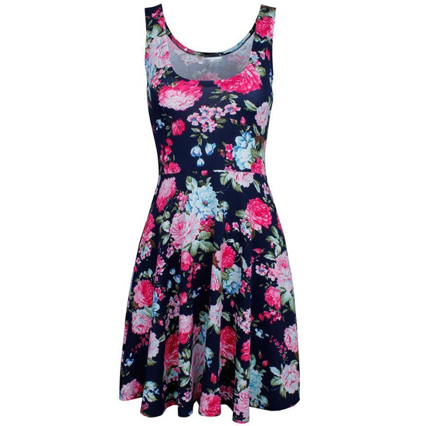 38eac6e1f65 Women S Summer Casual Lady Print O Neck Floral Vest Sleeveless Sheath Dress  Bohemian Style Summer Floral Printed Tank Dress Graduation Dresses Black  Dress ...