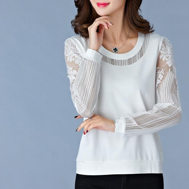 2019 2018 Autumn Women Lace Blouse Long Sleeve Fashion Blouses And Shirts  Crochet Blusas Casual Female Clothing Plus Size Femme Tops From Mobile08 9435421cea8f