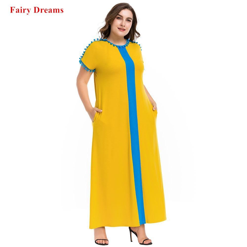 Muslim Abaya Women Plus Size Clothing 4XL Yellow Pompom Long Islamic Maxi  Dress Kaftan Dubai Turkey Caftan Summer Style Robe