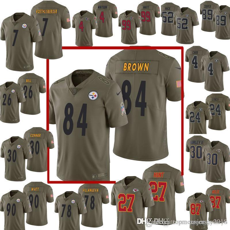 new concept 516a6 b683c 2017 Salute to Service 84 Antonio Brown 21 Ezekiel Elliott Jersey Steelers  90 T.J. Watt 78 Alejandro Villanueva Dallas Cowboys Football