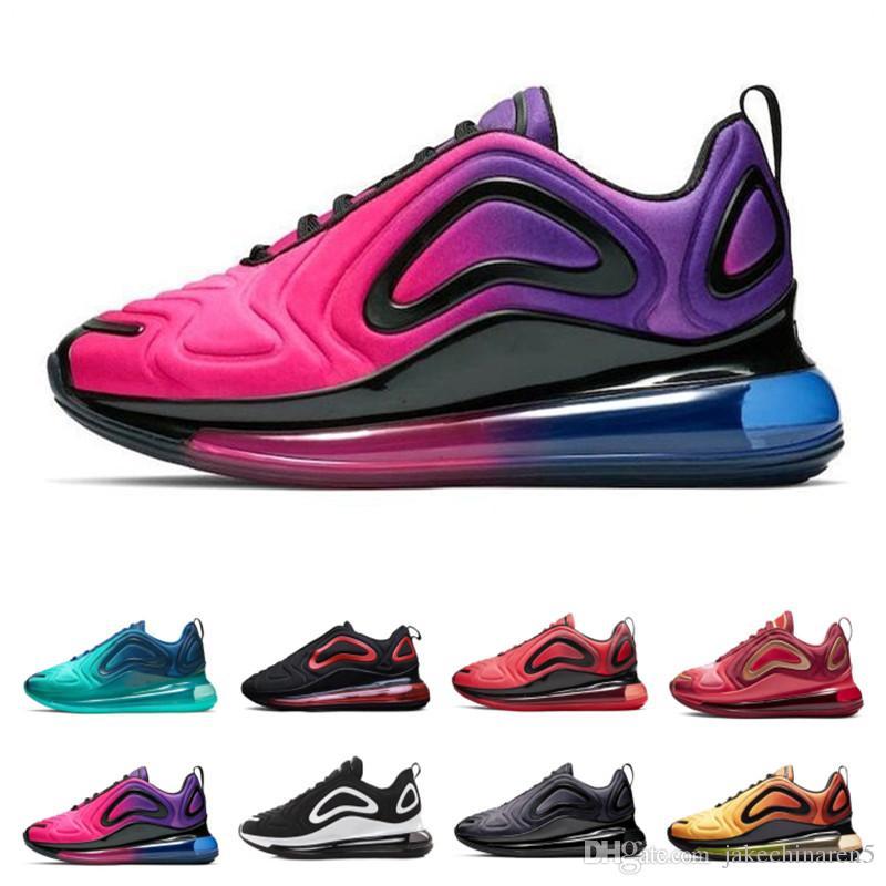 Nike air max 720 Zapatos de alta calidad Hombres Mujeres 2019 de Calidad Superior Negro Blanco Desierto Rosa Mar Zapatos Diseñador Zapatillas de