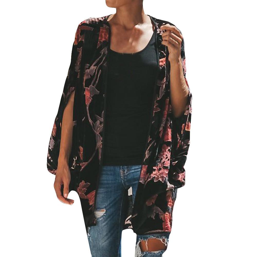 Compre 2019 Nueva Primavera Suéter Para Mujer Moda Gasa Otoño Estampado De  Flores Murciélagos Mangas Moda Abrigo Largo Suéter De La Señora Cardigan  Femenino ... 9d7164eb8527