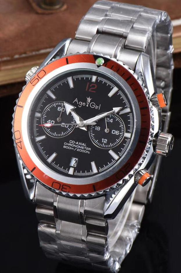 New Chronograph Men Stopwatch Sapphire Watches James Bond 007 Orange Blue Black Bezel Professional Sport Limited