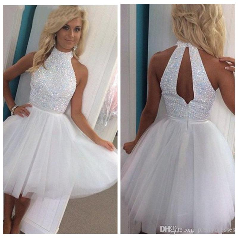 81265b87d09b 2019 High Neck A Line White Tulle Skirt Homecoming Dresses Beaded Short  Mini Vestidos De Soiree Sleeveless Cheap Prom Gowns Junior Sequin Dress  Short ...