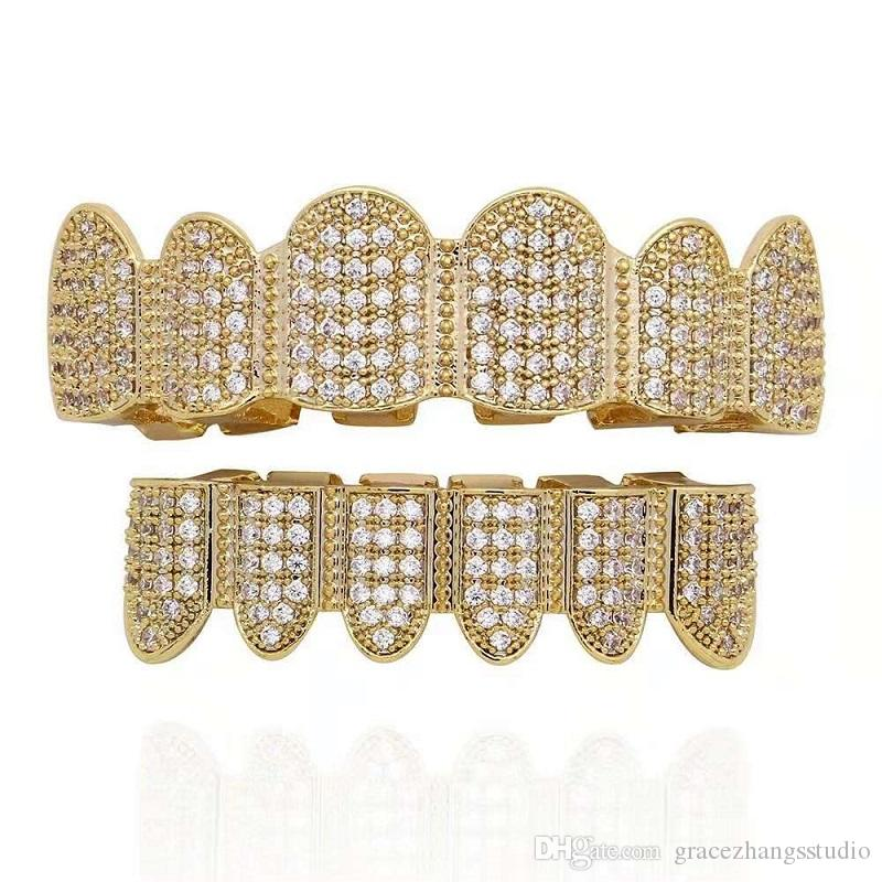 Hip Hop Grillz For Men Women Full Diamonds Dental Grills Real Gold Plated  Cool Rappers Body Jewelry Two Colors Golden Silver Free Shiping UK 2019  From ... 686b7e25a7