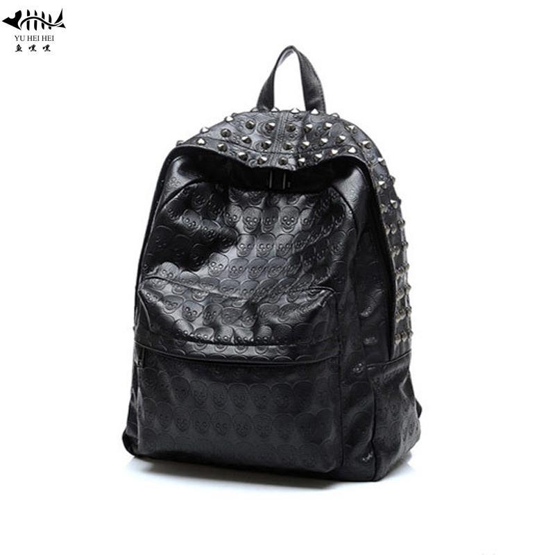 1830350a3fb2 Vintage PU Leather Backpack Women Bags Women Handbag Punk Skull ...