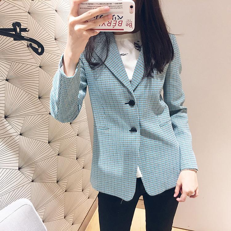 Simple Blue Plaid Women Blazer Pockets Single Breasted Long Sleeve Female Casual Coats Office Ladies Outerwear Chic Tops Blazer