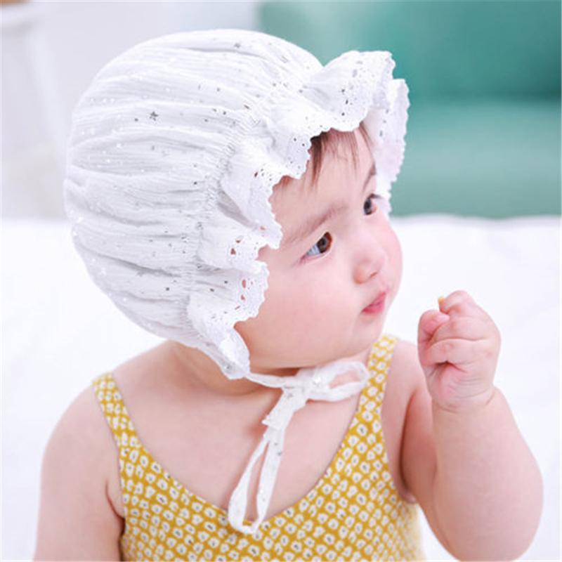 Newborn Infant Christening Bonnet Beach Bucket Hat Baby Girl Sun Summer Cap KI