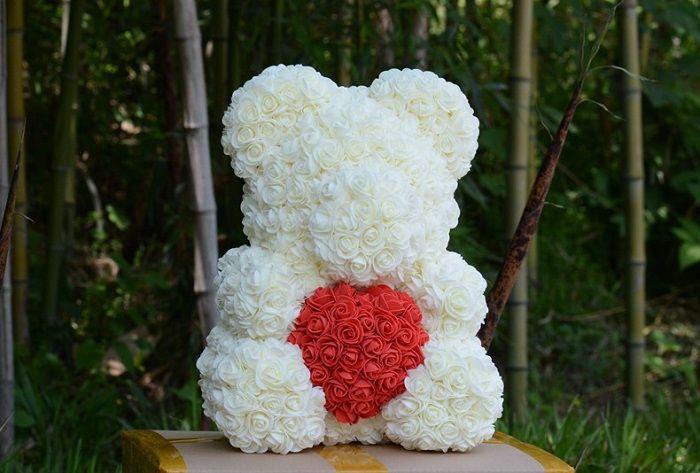 Auf Lager 25cm mit Herz Big Red Bär Rose Blumen Künstliche Dekoration Weihnachtsgeschenke für Frauen Valentines Geschenk kein Kasten
