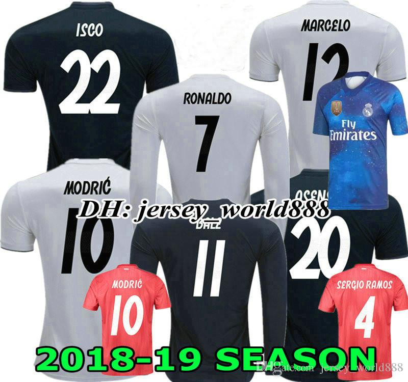 35bc986f7 2019 ASENSIO 18 19 Real Madrid Soccer Jersey MODRIC CR7 Long Sleeves Home  Away 3RD BENZEMA BALE KROOS RAMOS ISCO NAVAS Football Shirt RONALDO From ...