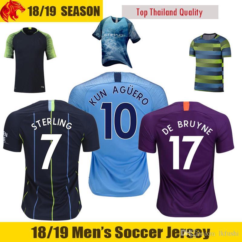 8c0d2fcb7 2019 18 19 KUN AGUERO Soccer Jerseys MAHREZ 2018 2019 DE BRUYNE Football  Shirt KOMPANY SILVA STERLING G.JESUS Soccer Shirt From Lkfushi