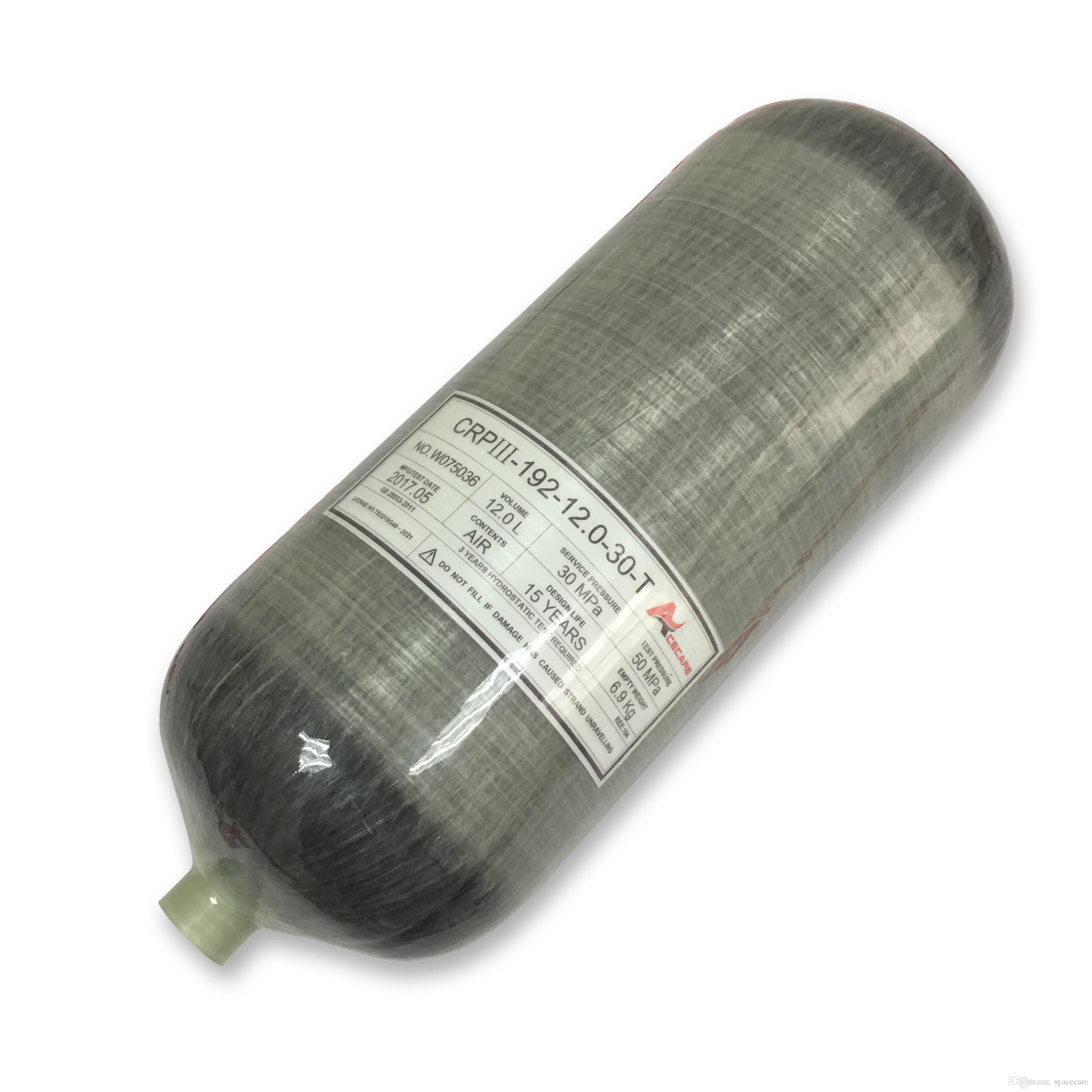 New arrivals 12L 30Mpa 4500psi carbon fiber gas cylinder SCUBA diving equipment for small paintball tank refilling