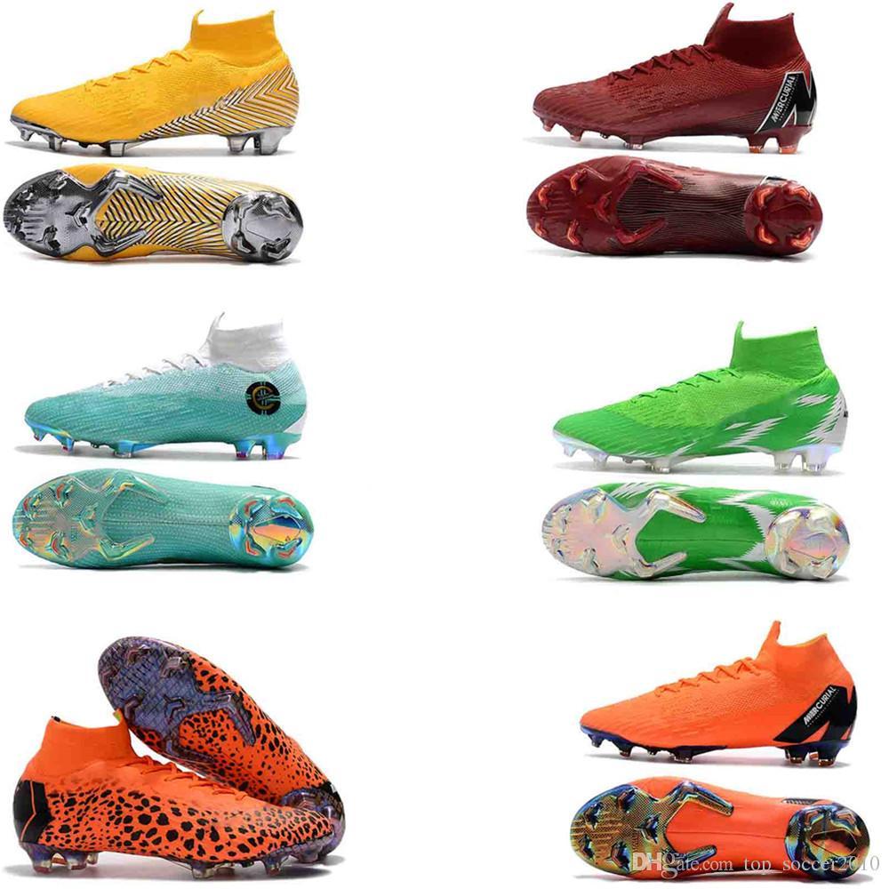 eebd23289 2019 Word Cup Football Boots Men WOMEN Mercurial Superfly VI 360 Elite  Neymar FG Soccer Shoes High Ankle Kids SuperflyX KJ XII Ronaldo CR7 Cleats  From ...