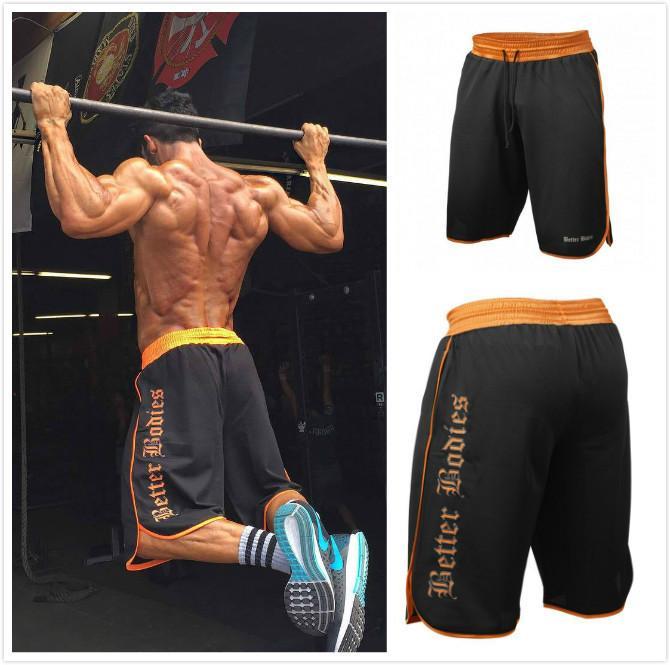 ba4357c78286 Pantalones cortos de gimnasia de fitness para hombre correr jogging  deportes de malla fresca de secado rápido culturismo crossfit ropa  deportiva ...