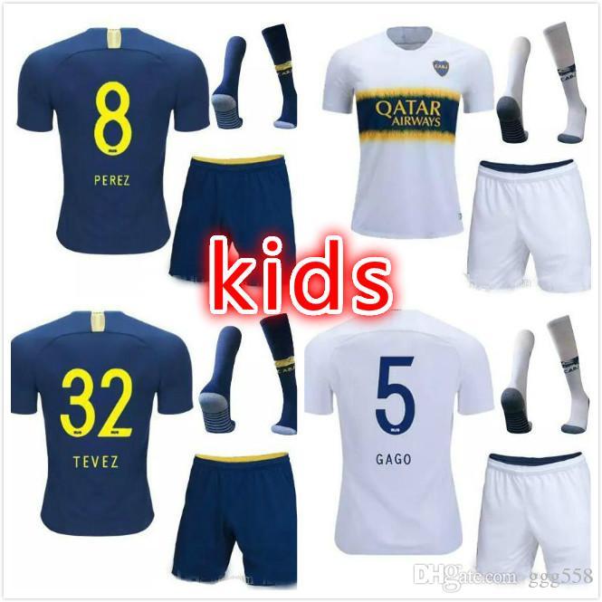 new style a9e38 8034c 2018 2019 Boca Juniors Home kids kit Soccer jerseys Uniforms childrenThai  Quality Soccer Jersey Away 32 TEVEZ Football shorts socks