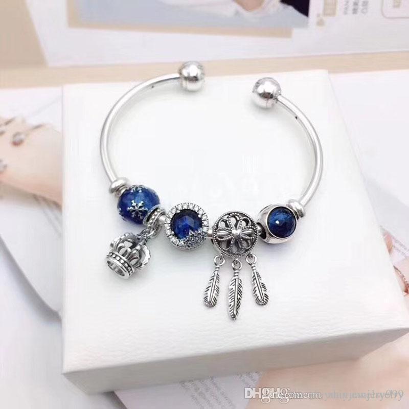 4b0e592cd Christmas Sale Pandora Winter Dream Charm Open Bangle Bracelets 925  Sterling Silver Jewelry Full Original Packaging Gifts Personalised Charm  Bracelets ...