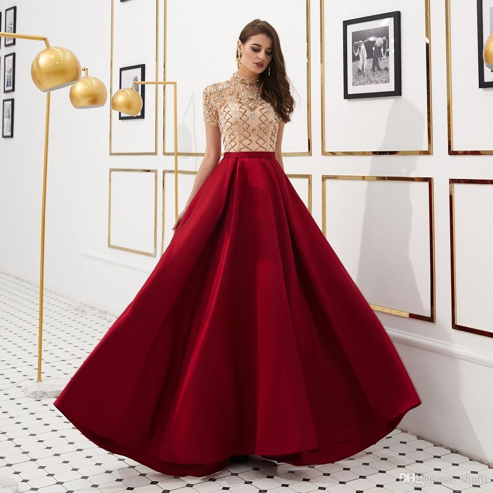 22f314059cb Stitching Design Dignified Diamond Decoration Jewel Prom Dresses Satin  Floor Length Major Beading Elegant Empire Evening Dresses Designer Evening  Dresses Uk ...