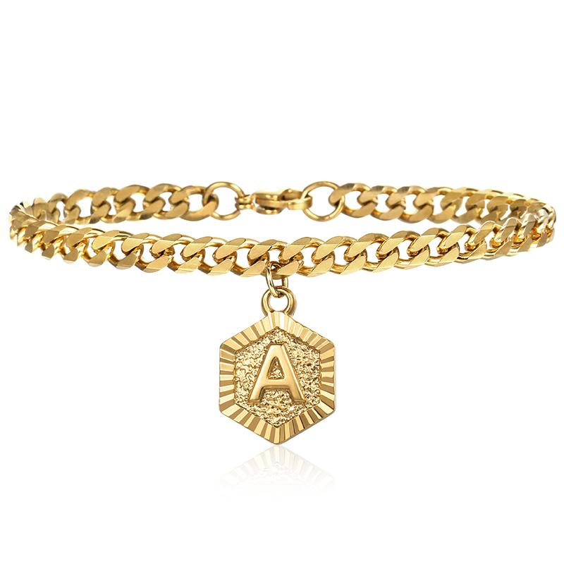 44d0b76427fc3 Davieslee Charm Bracelets For Women Initial Letter A Z Gold Curb Cuban Link  Chain Bracelet Woman Jewelry 2018 Gifts 5mm LDGBM01