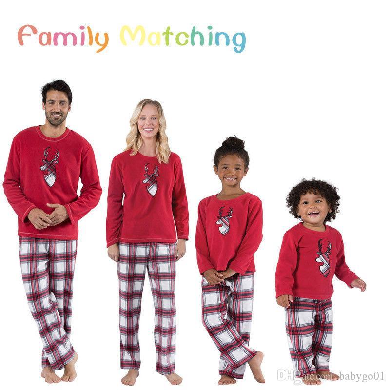 XMAS PJs Family Matching Adult Women Kids Christmas Nightwear Pyjamas  Pajamas Papa Mama Kid Families Photography Props Outfits Couple Matching  Shirts ... 54269646d