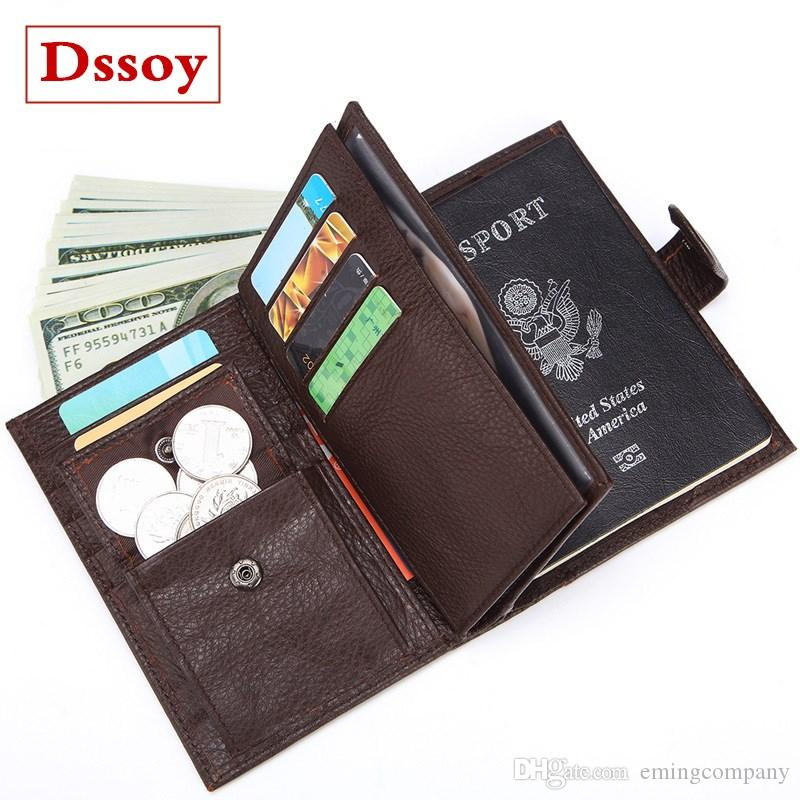 new product 5f32f a1c58 Designer Luxury Wallet Passport Credit Card Holder Coin Purse Pouch Genuine  Leather Dssoy Brand Zippy Wallets Key Porte Monnaie