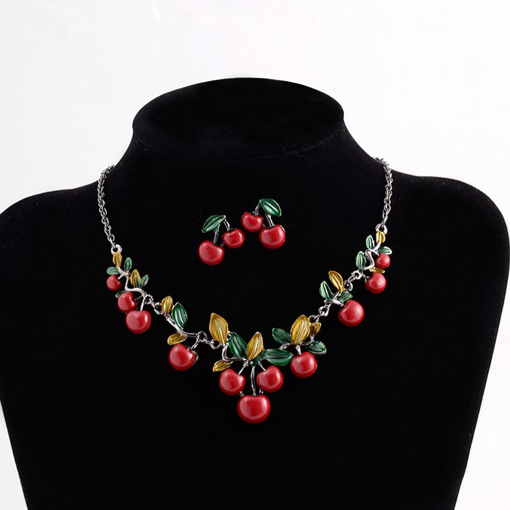 New Design Fashion woemen Jewelry Cherry Choker Statement Maxi Necklace Earrings Jewelry Set for Women Girls