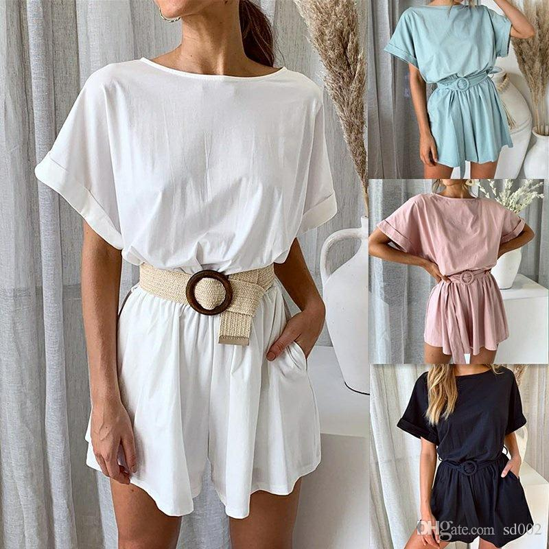 Summer Solid Colors Rompers Loose Bat Short Sleeve Middle Waist Holiday Womens Jumpsuits Casual Fashion Lady Home Clothes 29dy E1