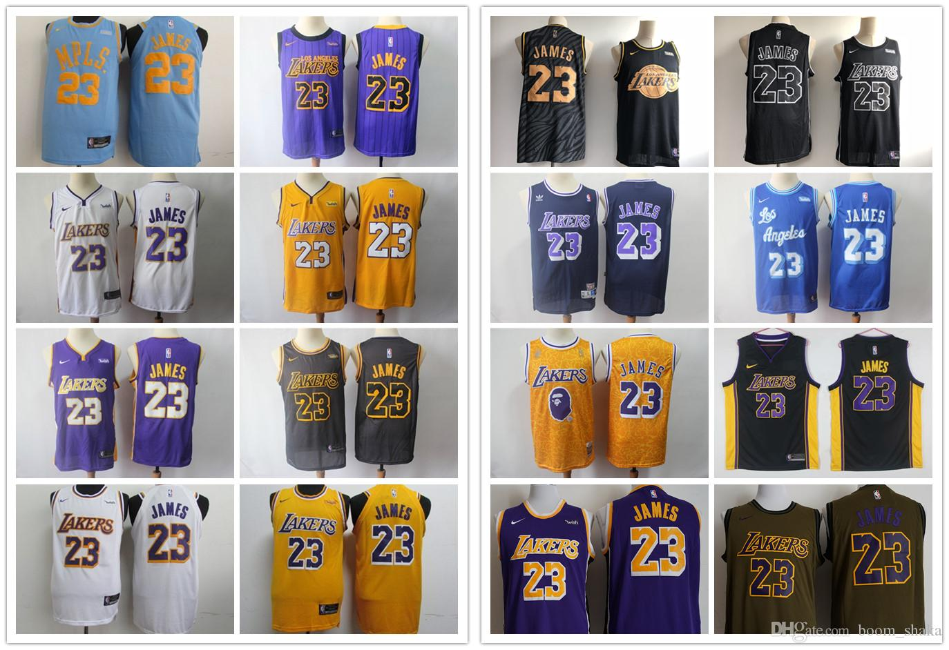 d6f42345fb4 2019 Mens 23 LeBron James Los Angeles Jerseys Lakers Retro ...