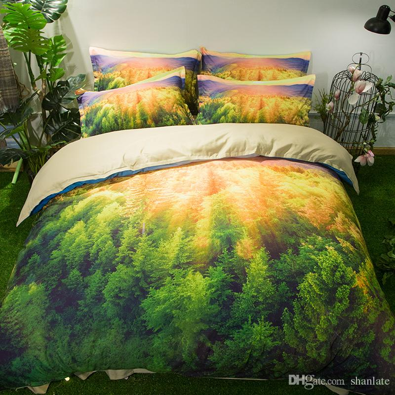 Free shipping Holiday Gift Beautiful Sunrise Forest Woodland Trees Print Bedding Duvet Cover set pillowcase Twin full Queen King size