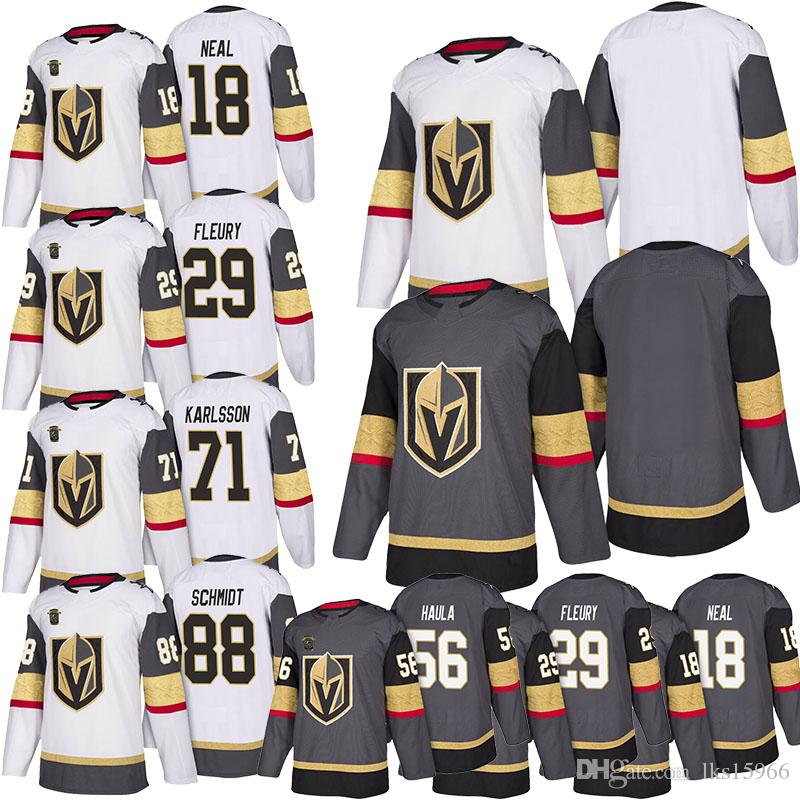 official photos eef51 460b3 Vegas Golden Knights Hockey Jerseys 18 James Neal 29 Marc-Andre Fleury 71  William Karlsson 88 Nate Schmidt 56 Erik Haula Adult shirt