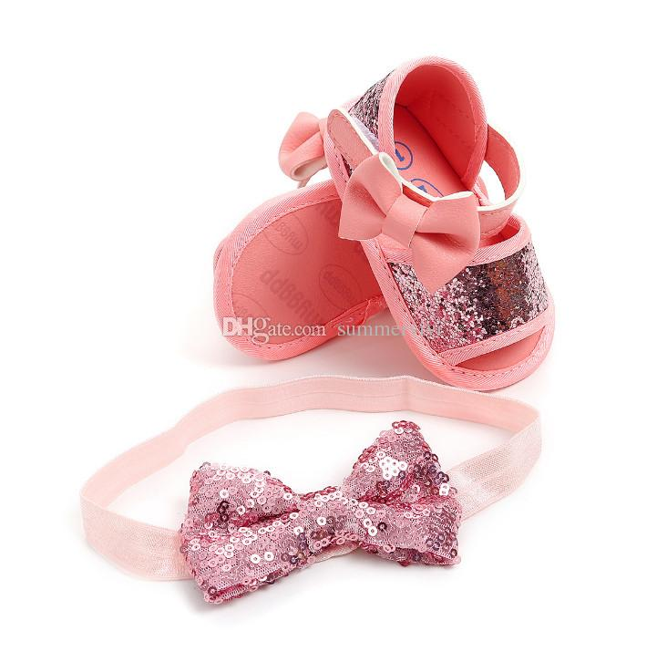 d9119ecc23 INS Baby sandals glitter baby girls sequins first walkers shoes Bows  elastic princess headbands 2pcs sets toddler kids shoes F7640