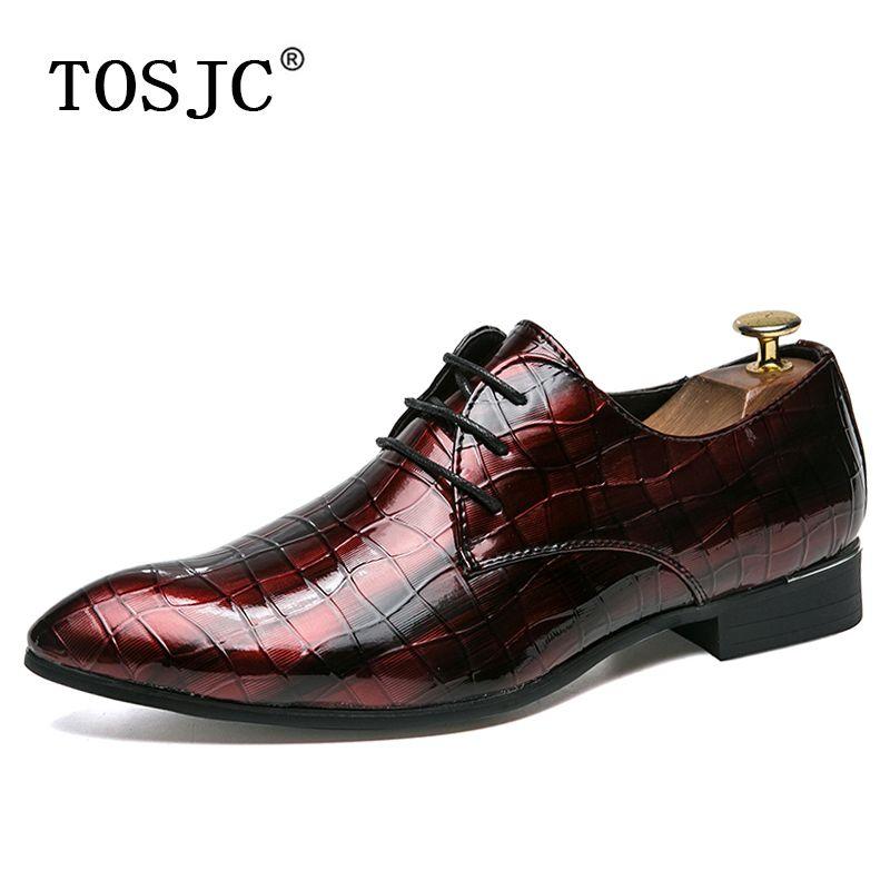 285447cd9cff TOSJC Mode Herren Kleid Derby Schuhe Lackleder spitzen Zehen Halbschuhe für  Mann Lace-up Formale Schuh Komfort Hochzeit Soziale Schuhe