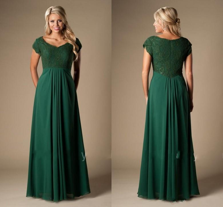 8638ee3907 Vintage Dark Green Bridesmaid Dresses Long With Cap Sleeves Lace Chiffon Modest  Cheap Wedding Party Dresses A Line Maids Of Honor Dresses Inexpensive ...