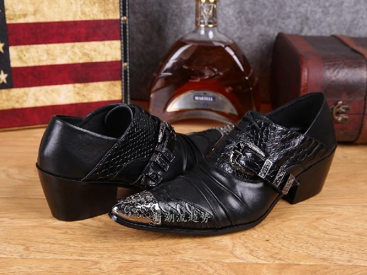 Mens Pointed Toe Dress Shoes Black White Red Color Crocodile Skin Men Leather Shoes Iron Toe Formal Wedding Shoes Spiked Loafers Men's Shoes