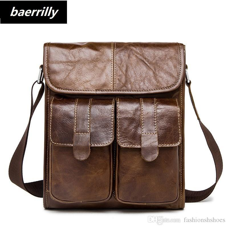 ccd976640f8 Vintage Crazy Horse Genuine Leather Men Bags Fashion Handbag Shoulder  Business Retro Cowhide Bag Men Messenger Bags Briefcase #244103 Briefcases  For Men ...