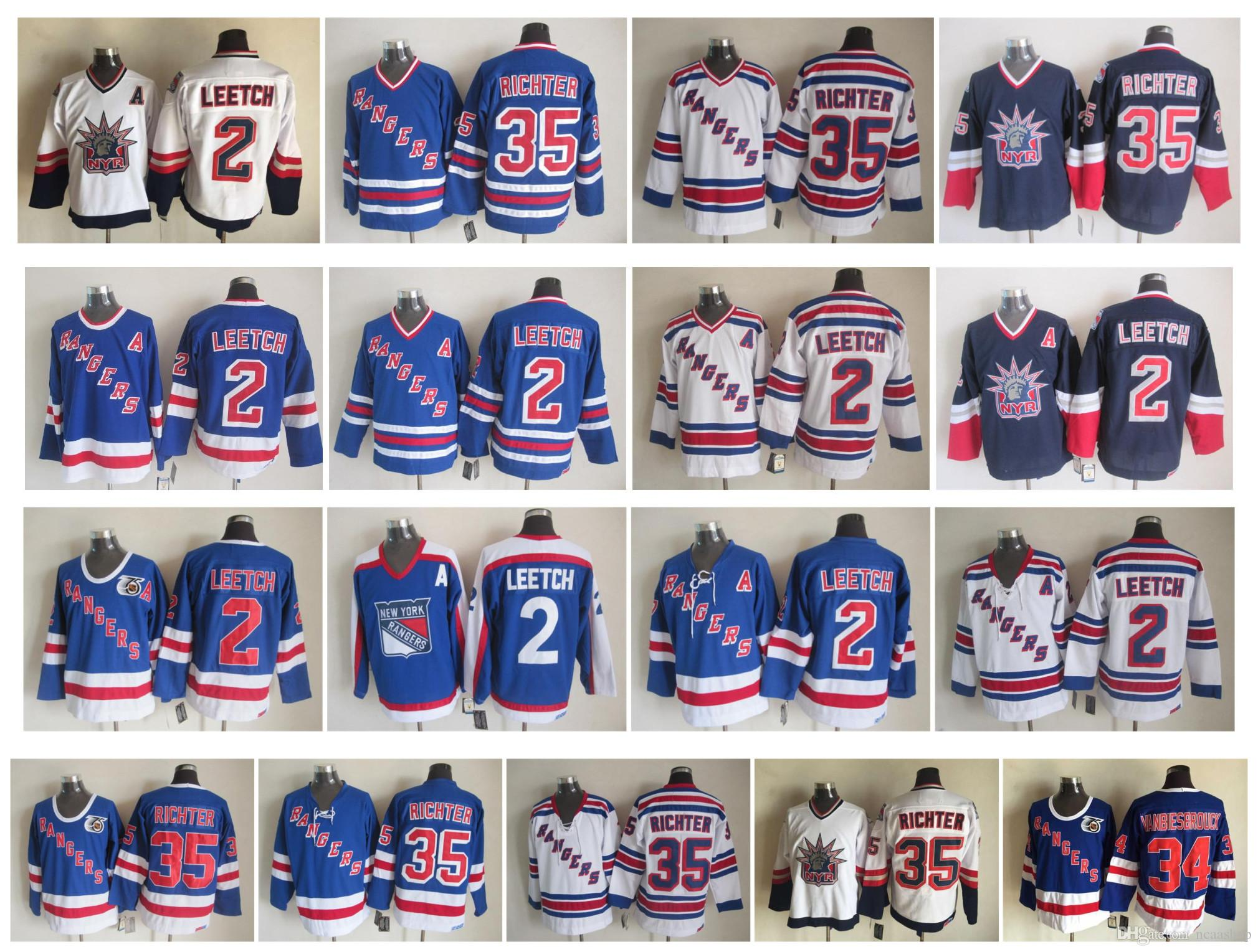 sports shoes 511db 13850 Vintage New York Rangers Jersey 2 Brian Leetch 35 Mike Richter 36 Glenn  Anderson 75th Anniversary Blue White CCM Hockey Jersey