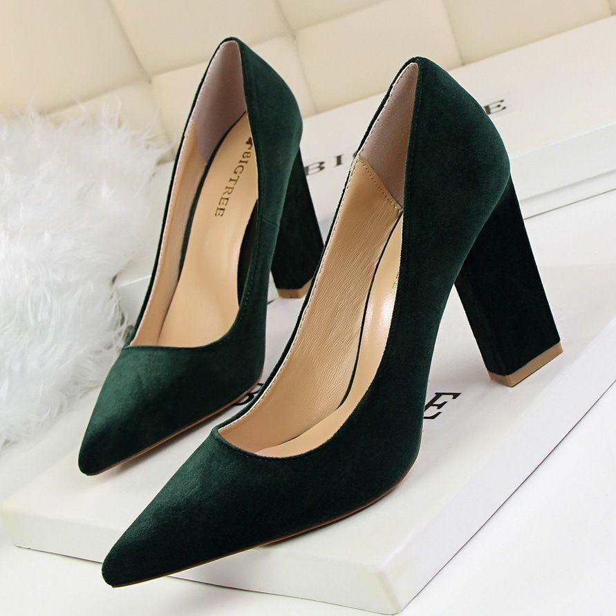 95f09b04f8 Compre Sapatos Coreano A Moda Simples Grosso Com Salto Alto Rasa Boca  Apontou Camurça Sexy Boate Era Fino Único Salto Alto De Deals99