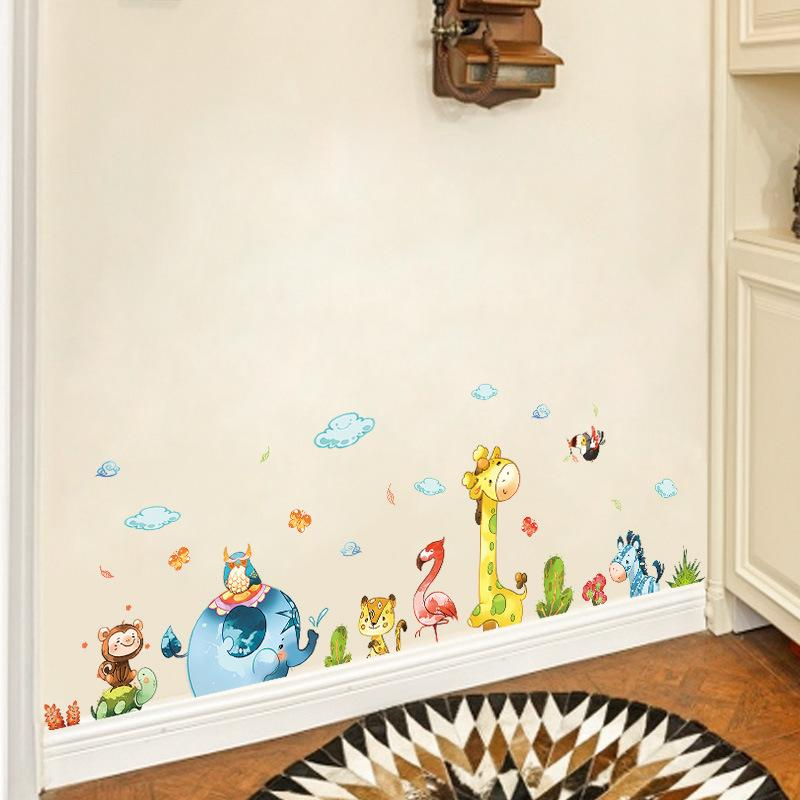 Cartoon Animal Party Wall Stickers Decal Kids Adhesive Vinyl Wallpaper Mural Baby Girl Boy Room Nursery Decor