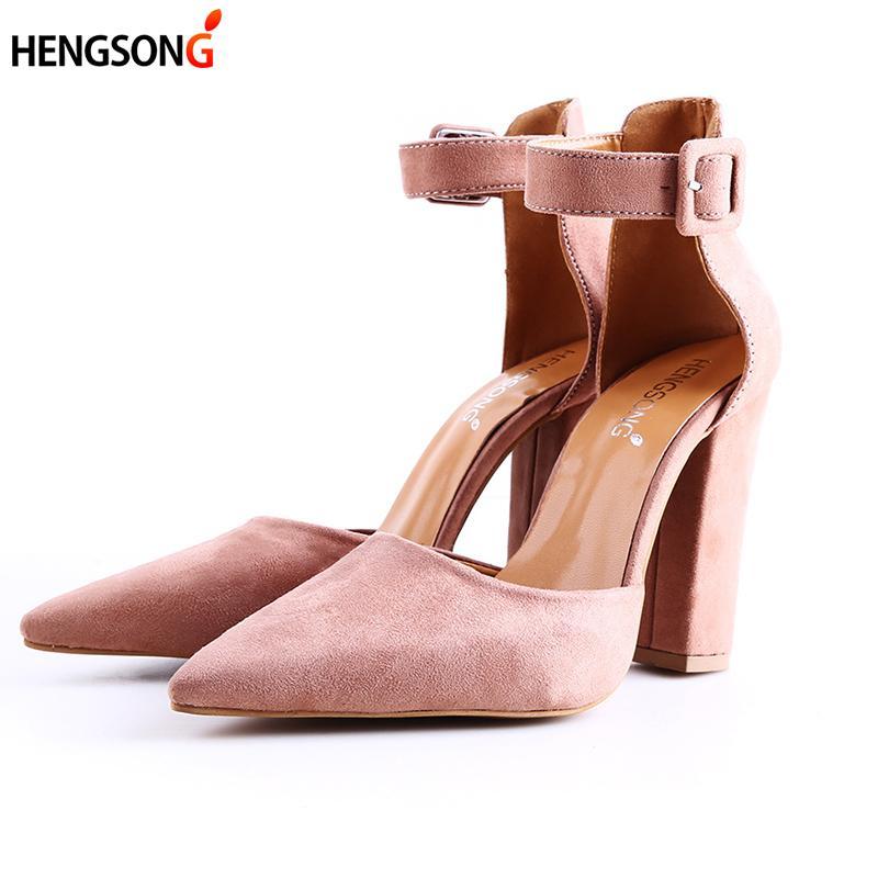 cd4db63d54 Compre Designer De Vestido Sapatos De Moda Senhoras De Salto Alto Feminino  Zapatos Mujer Apontou Toe Bombas Mulheres Mulher Partido Tornozelo Strap  Pump ...