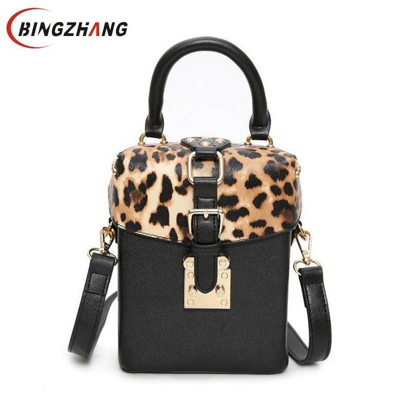 2019 Fashion 2018 New Children Leopard Printing Small Box Package Rivets  Box Handbag Shoulder Bag Women Messenger Bag Tide Package L4 3182 Ladies  Handbags ... b19f138fec5f8