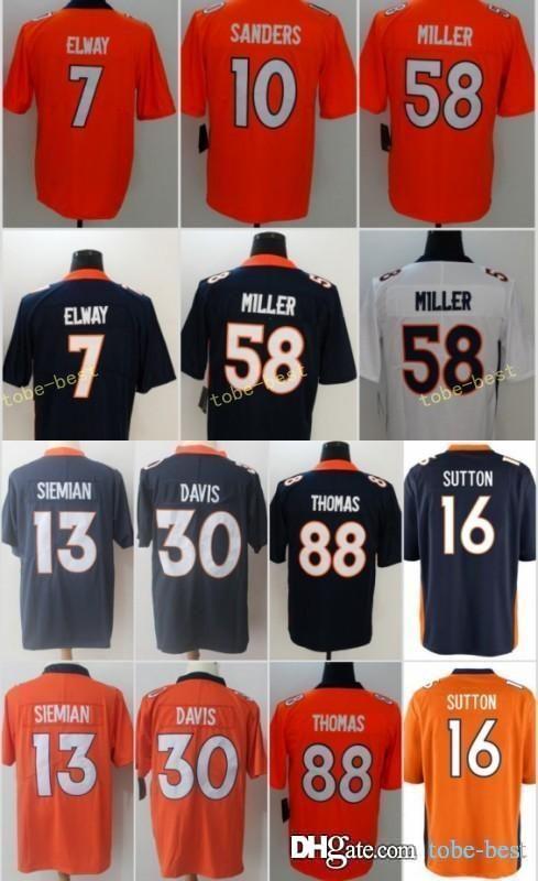 promo code 38b9b 1af2c Denver 4 Case Keenum 30 Terrell Davis 58 Von Miller Broncos Jersey 16 7  John Elway 13 Trevor Siemian 12 Paxton Lynch Jerseys