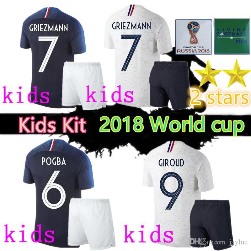 wholesale dealer 46d96 e18d1 2 Star 2018 world cup Jersey MBAPPE kids kit GRIEZMANN POGBA Home away Blue  and white mbappe soccer jersey DEMBELE MARTIAL football shirt