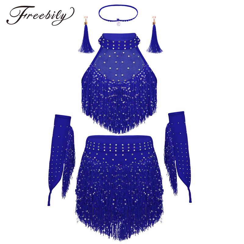 e83e02d56ccb8 Acheter Tassels Girls Professional Danse Latine Robe Enfants Salsa Patinage  Moderne Danse Ballet Robe Stage Performance Costumes De  29.93 Du Amosty ...