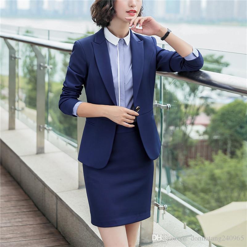 0cfa2cf4ac87 2019 Office Uniform Designs Women Skirt Suit Costumes For Women Business Suits  Skirts With Blazer Black Blue Plus Size 4XL 5XL 6010 From Dujotree