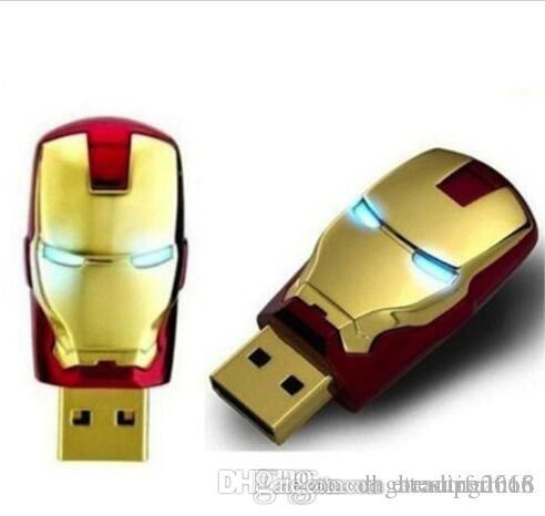 100% real 8GB 16GB 32GB LED Iron Man Head USB 2.0 USB Flash Drive Pen Grade A Drives Memory stick for iOS Windows Android