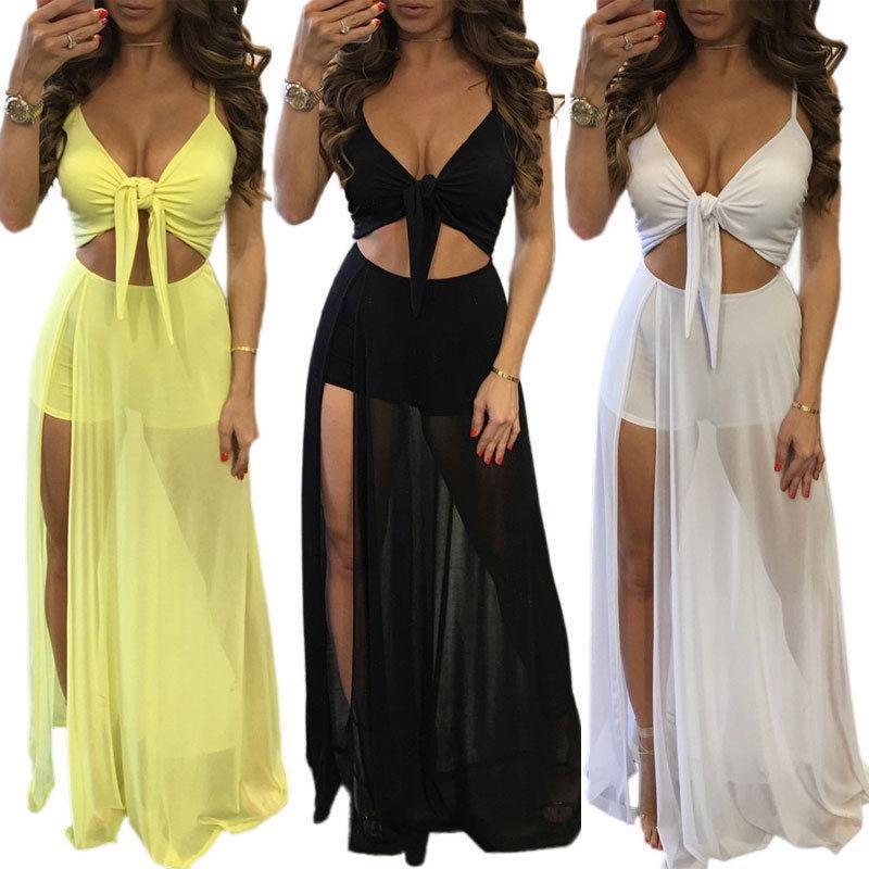 dca83d3dfd Women Summer Dress Boho Long Maxi Dress Evening Solid Party Beach Dresses  Sundress Sleeveless Cocktail Night Dresses Party Dress Junior From  Jincaile04