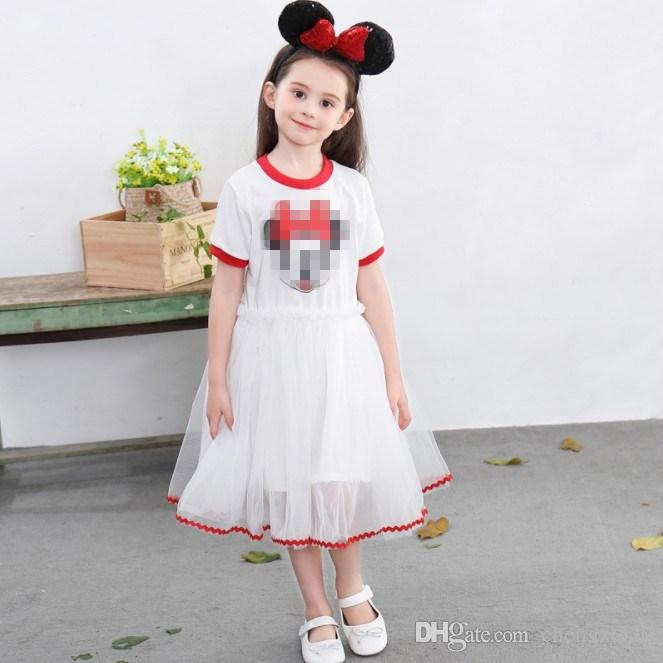 Baby Girl Summer Short sleeve white black Dress Casual Kids Dresses For Wedding Party Princess