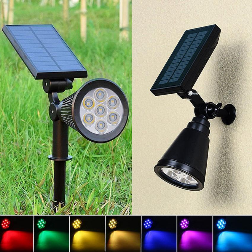 Solar Spotlight Lawn Flood Light Outdoor Garden 7 LED Adjustable 7 Color in 1 Wall Lamp Landscape Light for Patio Decoration ZZA452