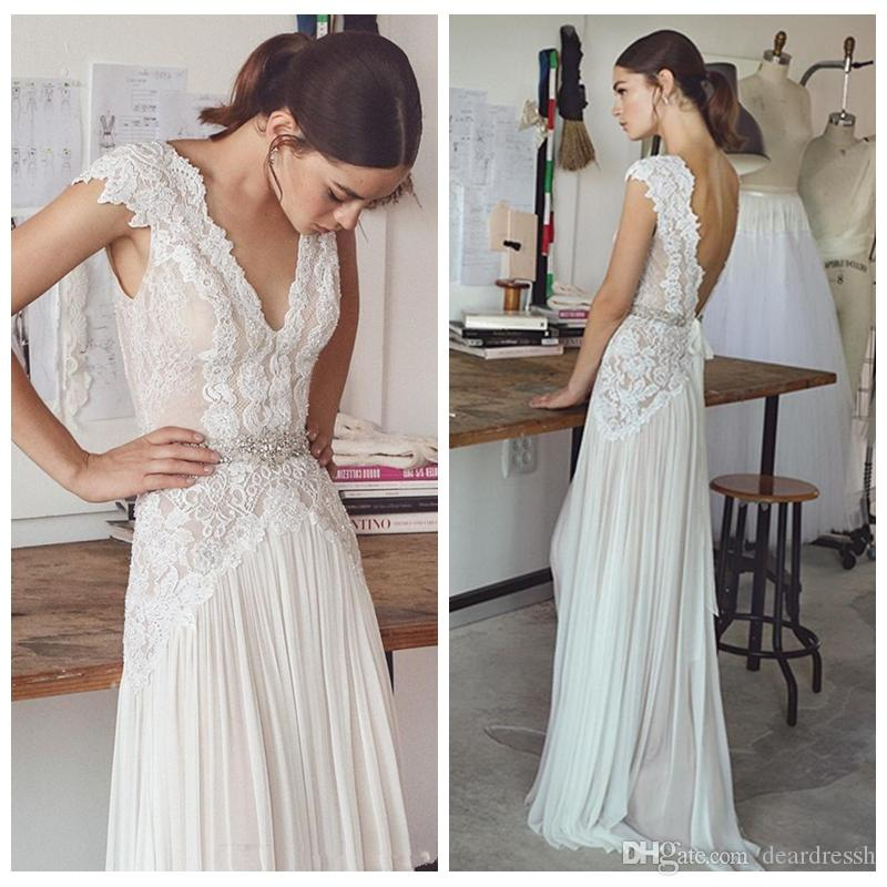 f01dadccb8e6c Discount V Neck Lace Appliques Bohe A Line Wedding Dresses 2019 Chiffon  Sweep Train Long Bridal Gowns Backless Sweep Train Sleeveless Vestidos  Modified A ...