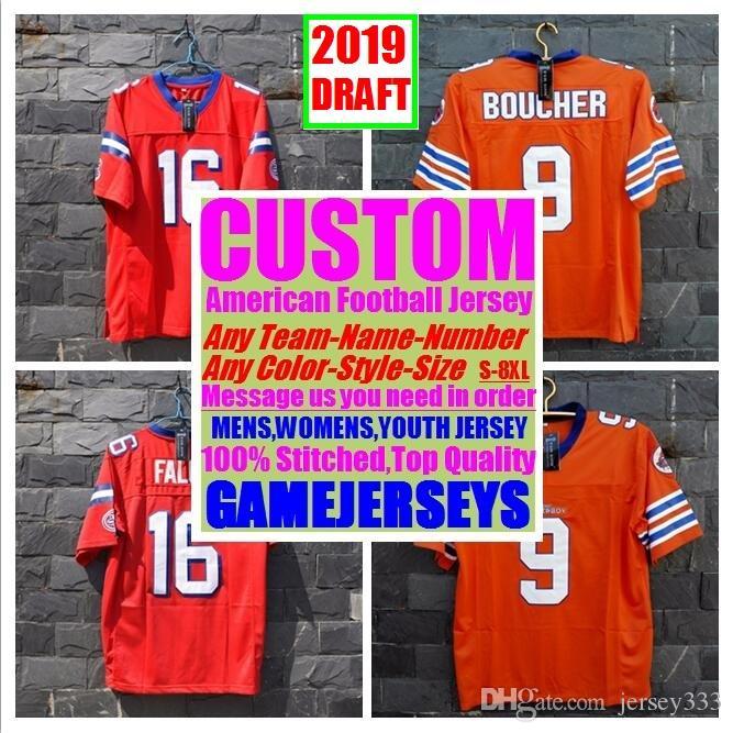 best website 8eaae 6093d Custom college american football jerseys mens womens youth kids 2019 Draft  stitched authentic jersey 4xl 5xl 6xl 7xl 8xl Outdoor wear sew