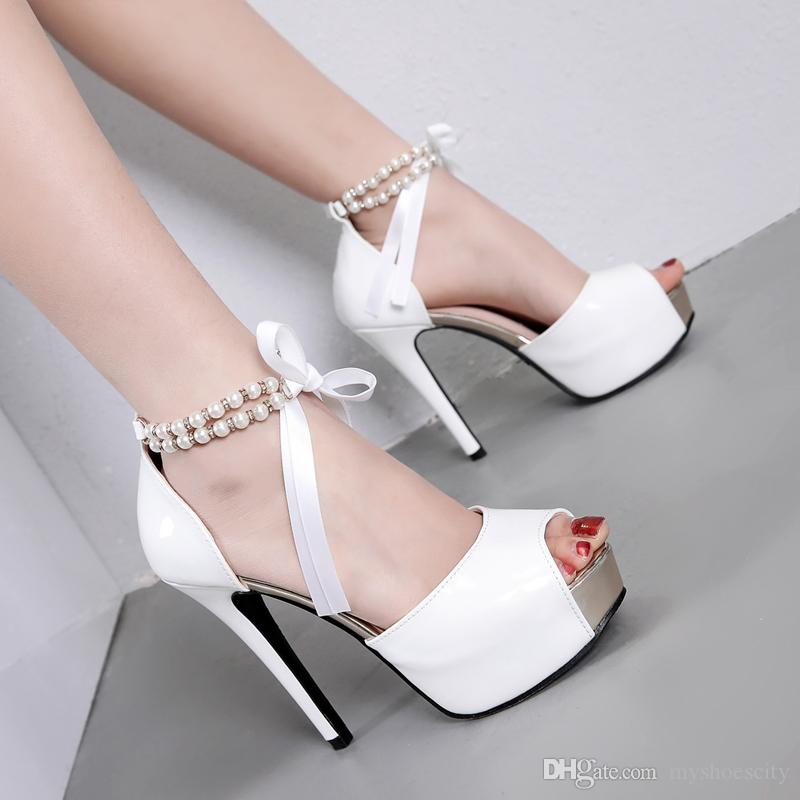 Элегантные свадебные туфли свадебные белые черные туфли на высоком каблуке женские туфли на высоком каблуке размер 34 до 39